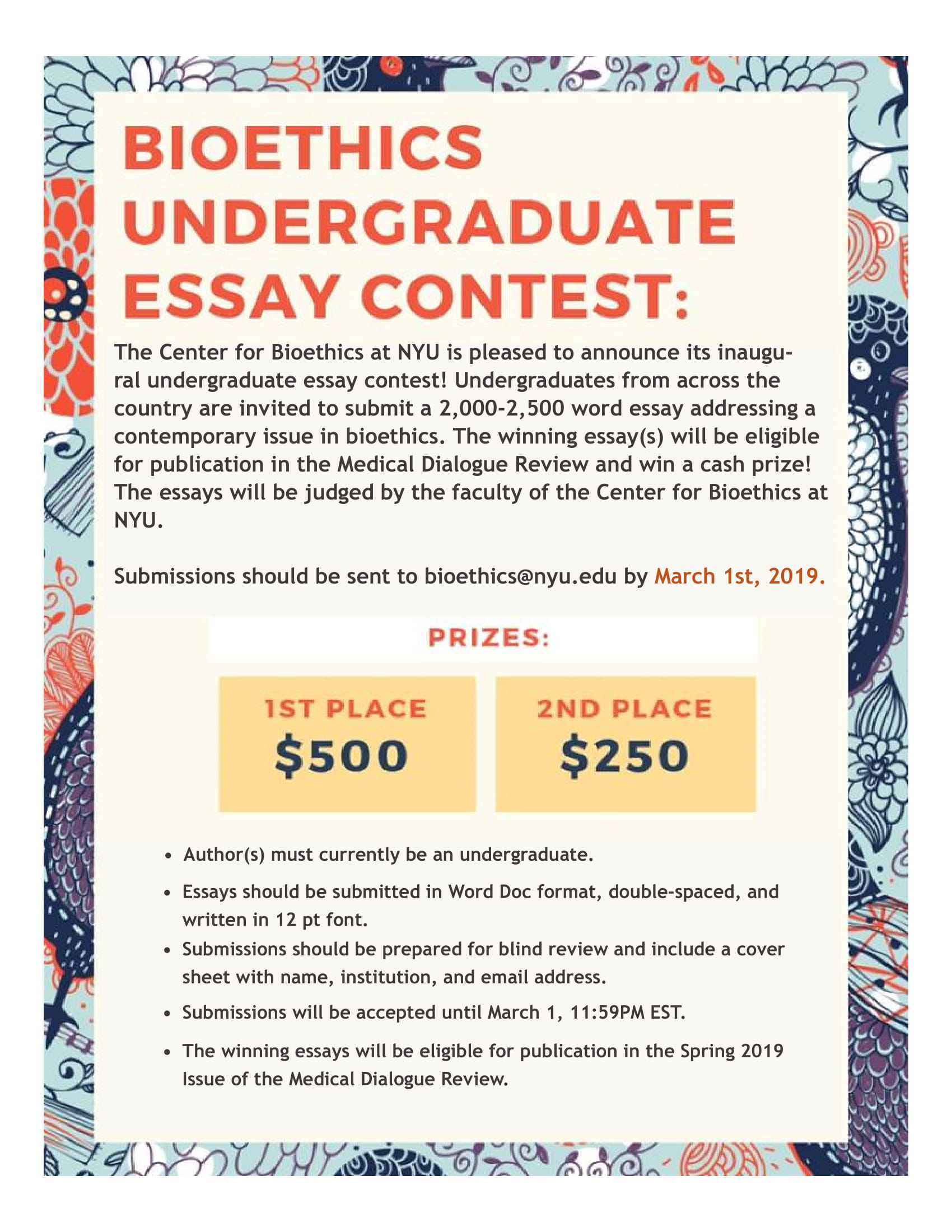 010 Nyu Essay Example Bioethics Contest Flier Awful Word Limit Supplement Stern Prompt Full