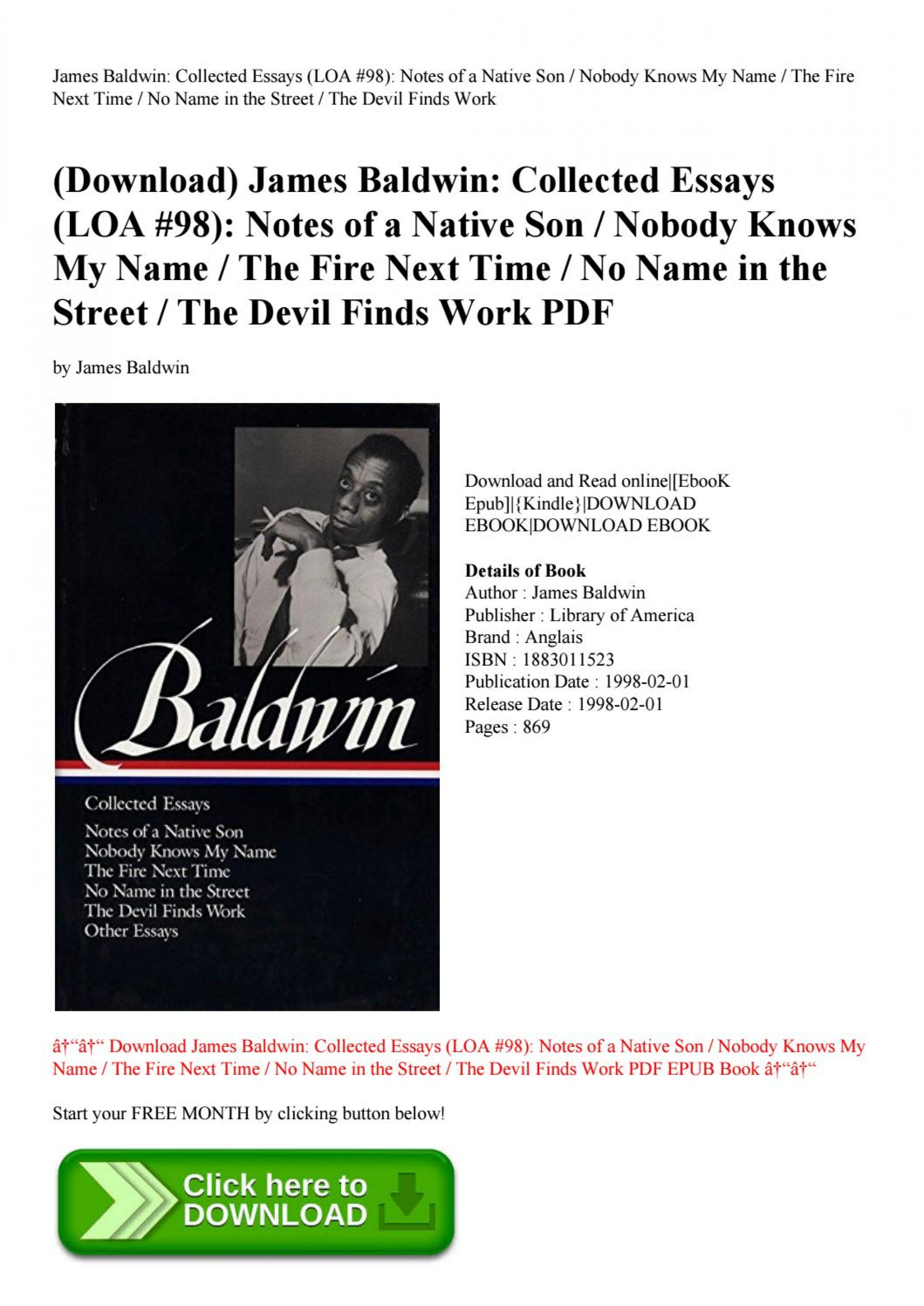 010 Page 1 Essay Example James Baldwin Collected Wondrous Essays Google Books Pdf Table Of Contents 1920