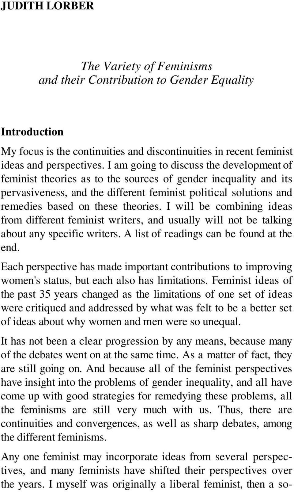essay on equality of man and woman