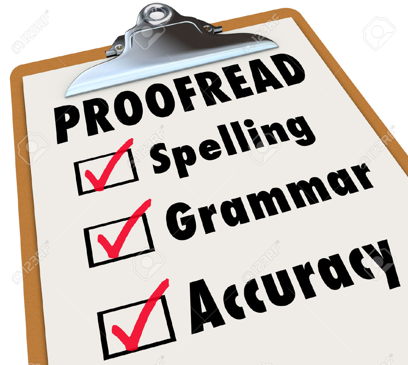 010 Proofread Checklist And Checked Boxes Next To The Words Spelling Grammar Accuracy As Things Stock Photo Essay Unique Proofreading Service Website University Full