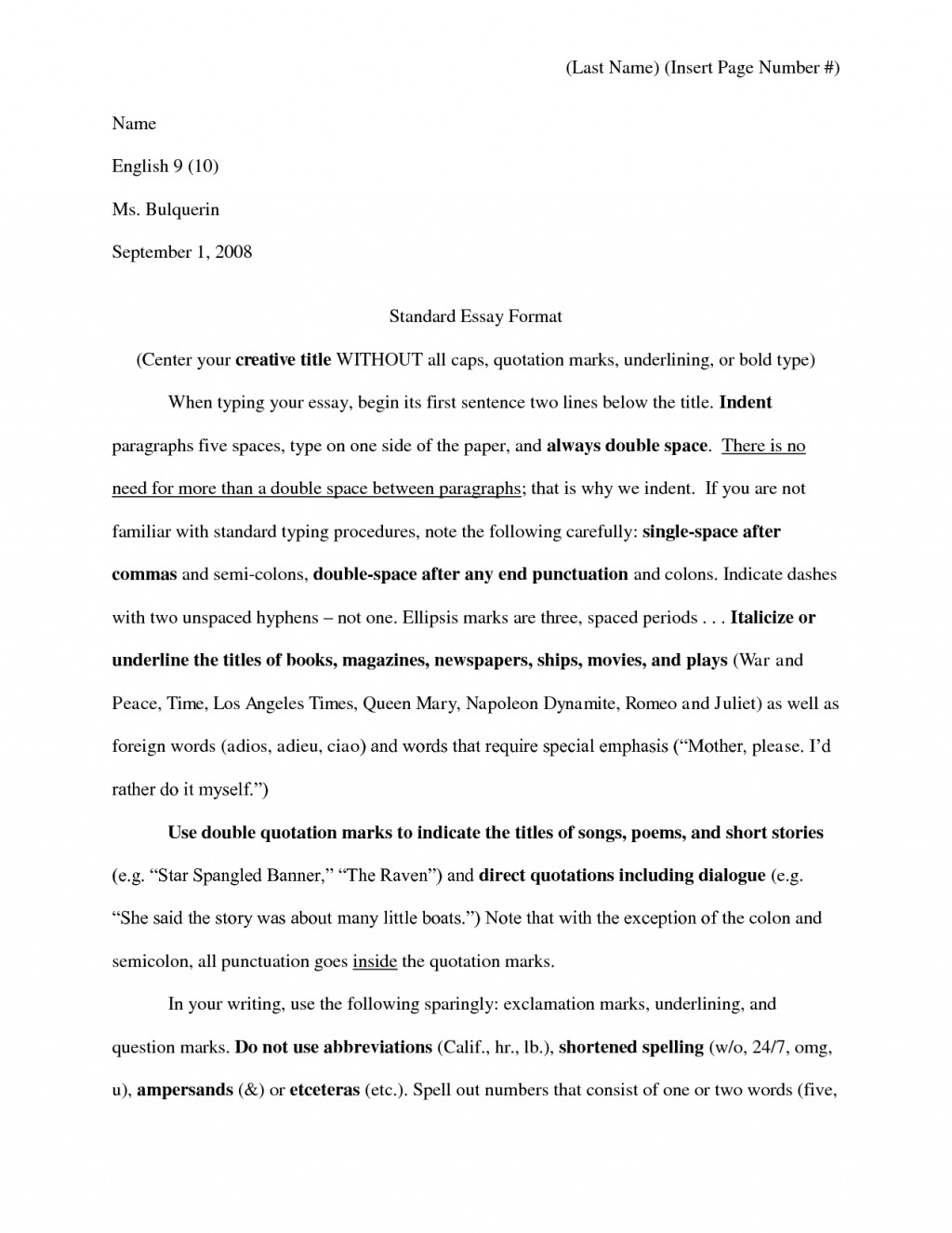 010 Proper Essay Heading Example For College Application Writing Awesome Mla Large