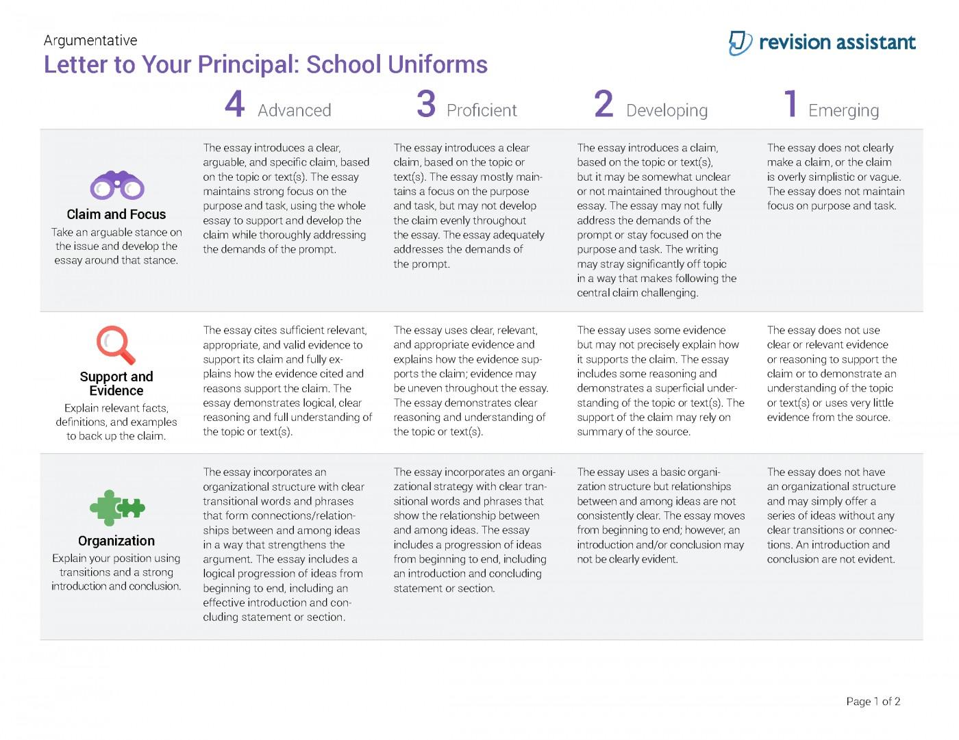 010 Should Students Wear School Uniforms Essay Argumentative Letter To Your Principal Have Persuasive Schooluniforms Spot Rubric 22 P Conclusion Not Impressive Pdf High 1400