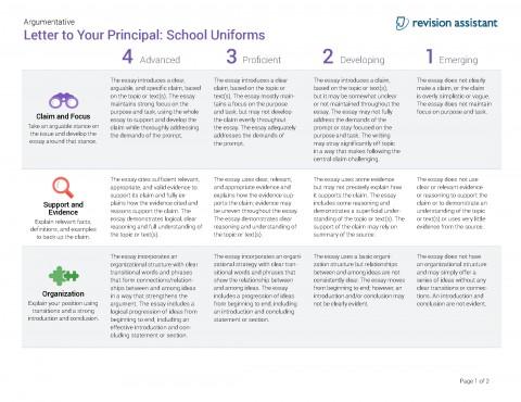 010 Should Students Wear School Uniforms Essay Argumentative Letter To Your Principal Have Persuasive Schooluniforms Spot Rubric 22 P Conclusion Not Impressive Pdf High 480