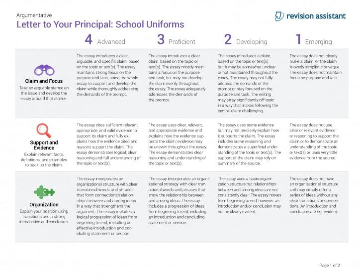 010 Should Students Wear School Uniforms Essay Argumentative Letter To Your Principal Have Persuasive Schooluniforms Spot Rubric 22 P Conclusion Not Impressive Pdf High 728