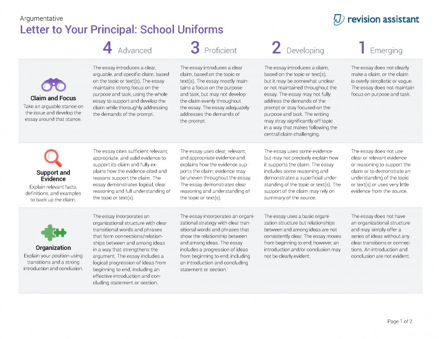 010 Should Students Wear School Uniforms Essay Argumentative Letter To Your Principal Have Persuasive Schooluniforms Spot Rubric 22 P Conclusion Not Impressive Pdf High 868