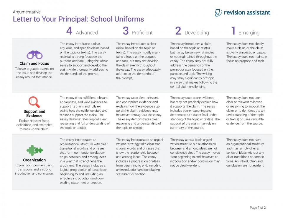 010 Should Students Wear School Uniforms Essay Argumentative Letter To Your Principal Have Persuasive Schooluniforms Spot Rubric 22 P Conclusion Not Impressive Pdf High 960