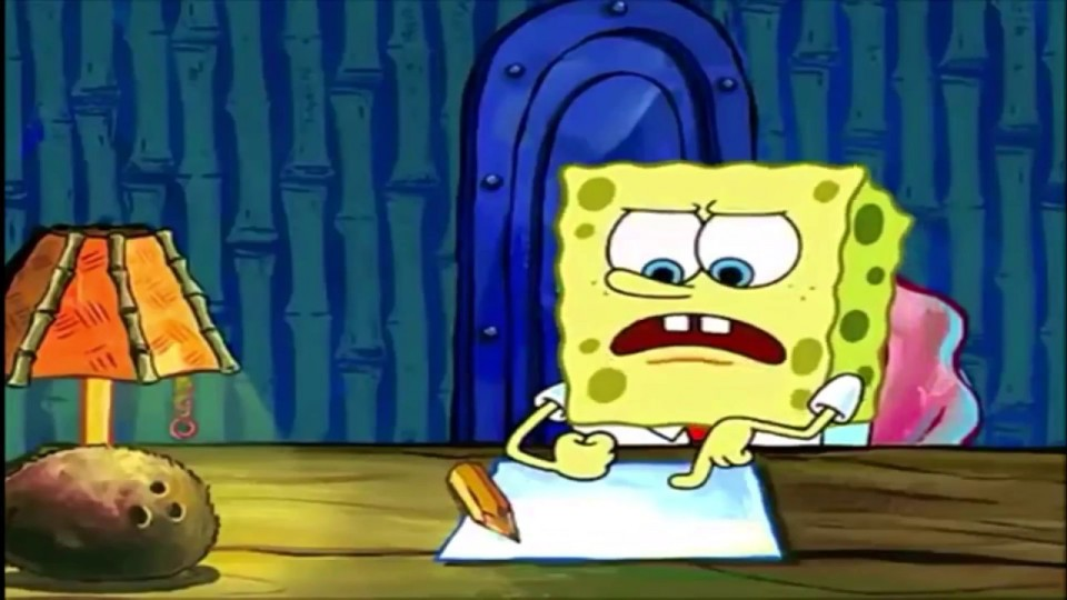 010 Spongebob Squarepants Writing Essay Full Screen Meme Maxresde Episode Surprising Gif 960