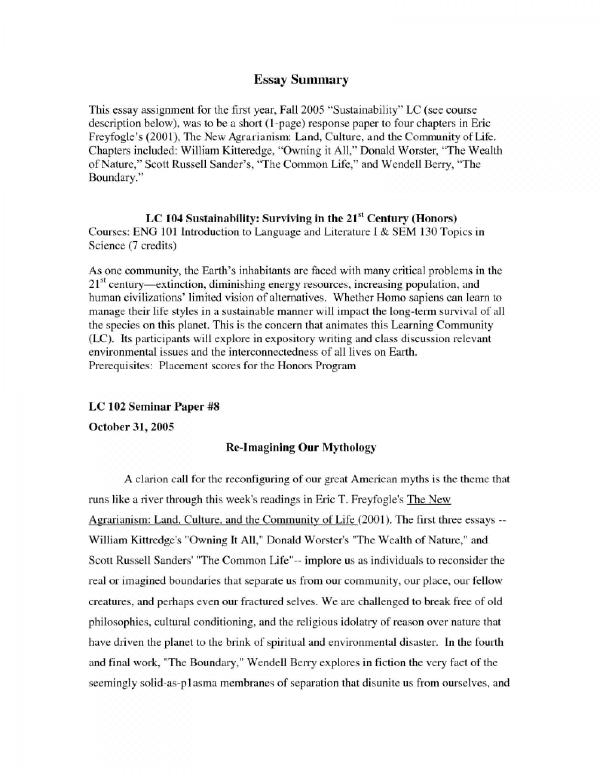 Summary analysis essay example