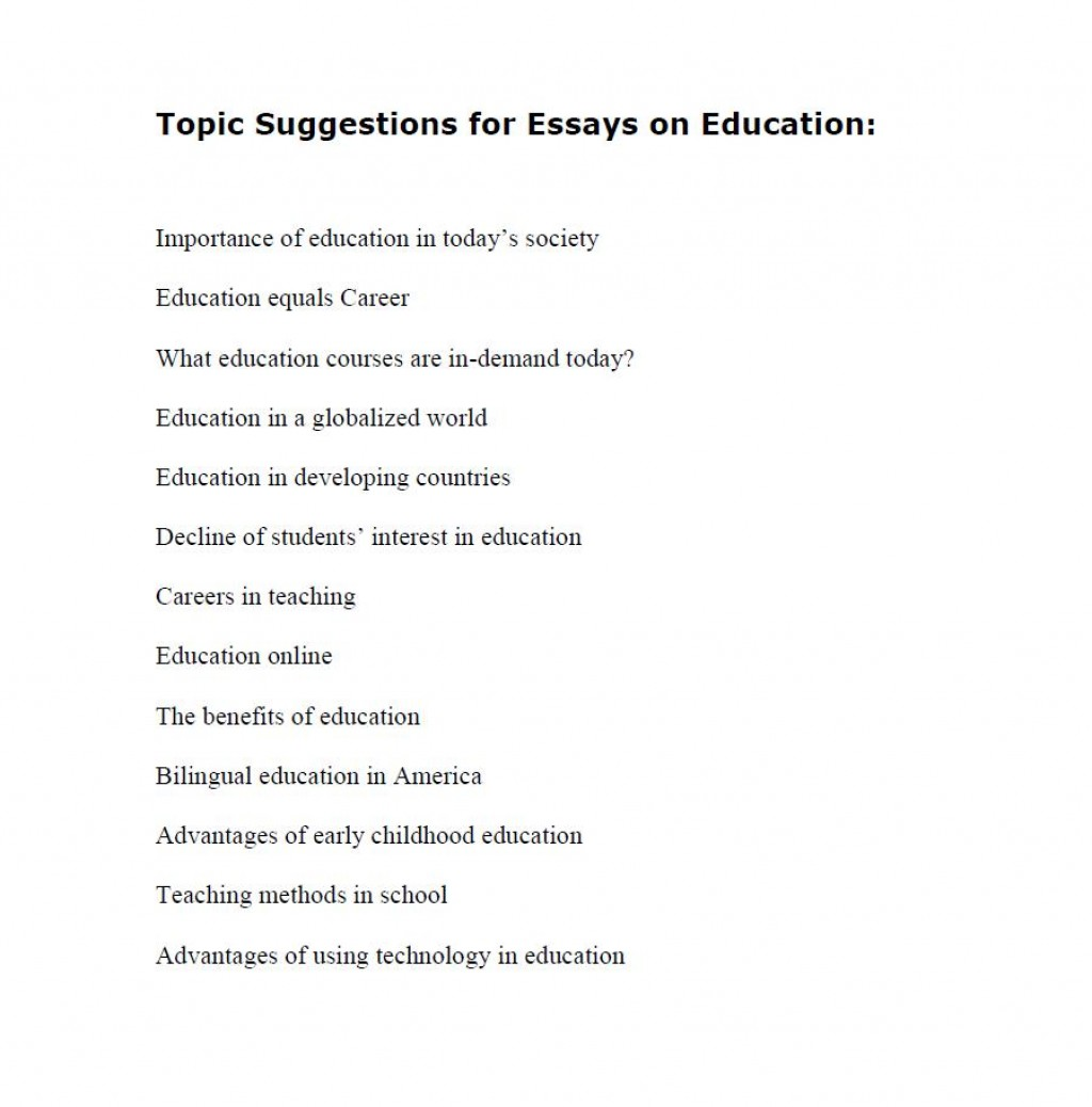 010 Topic Suggestions For Essays On Education Essay Topics Archaicawful List High School Students Freshman Large