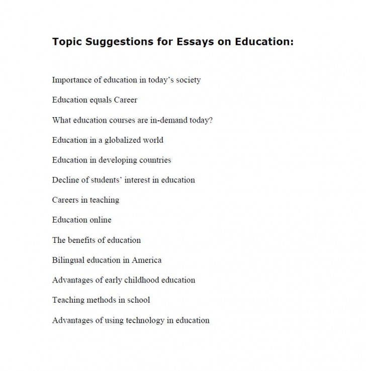 010 Topic Suggestions For Essays On Education Essay Topics Archaicawful List High School Students Freshman 728