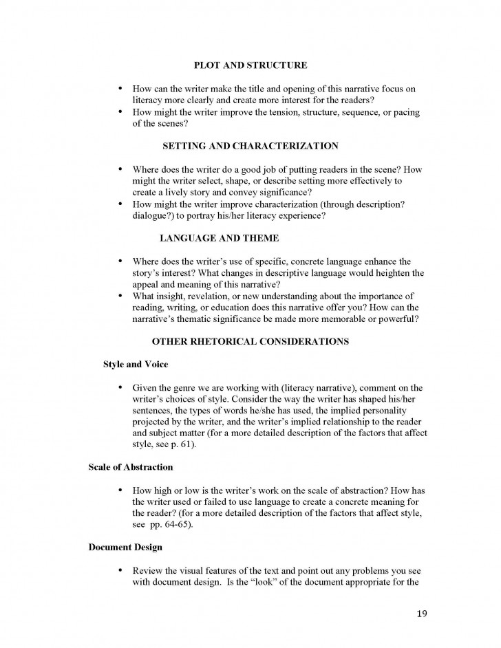 010 Unit 1 Literacy Narrative Instructor Copy Page 19 Immigration Essay Exceptional Conclusion Topics 728