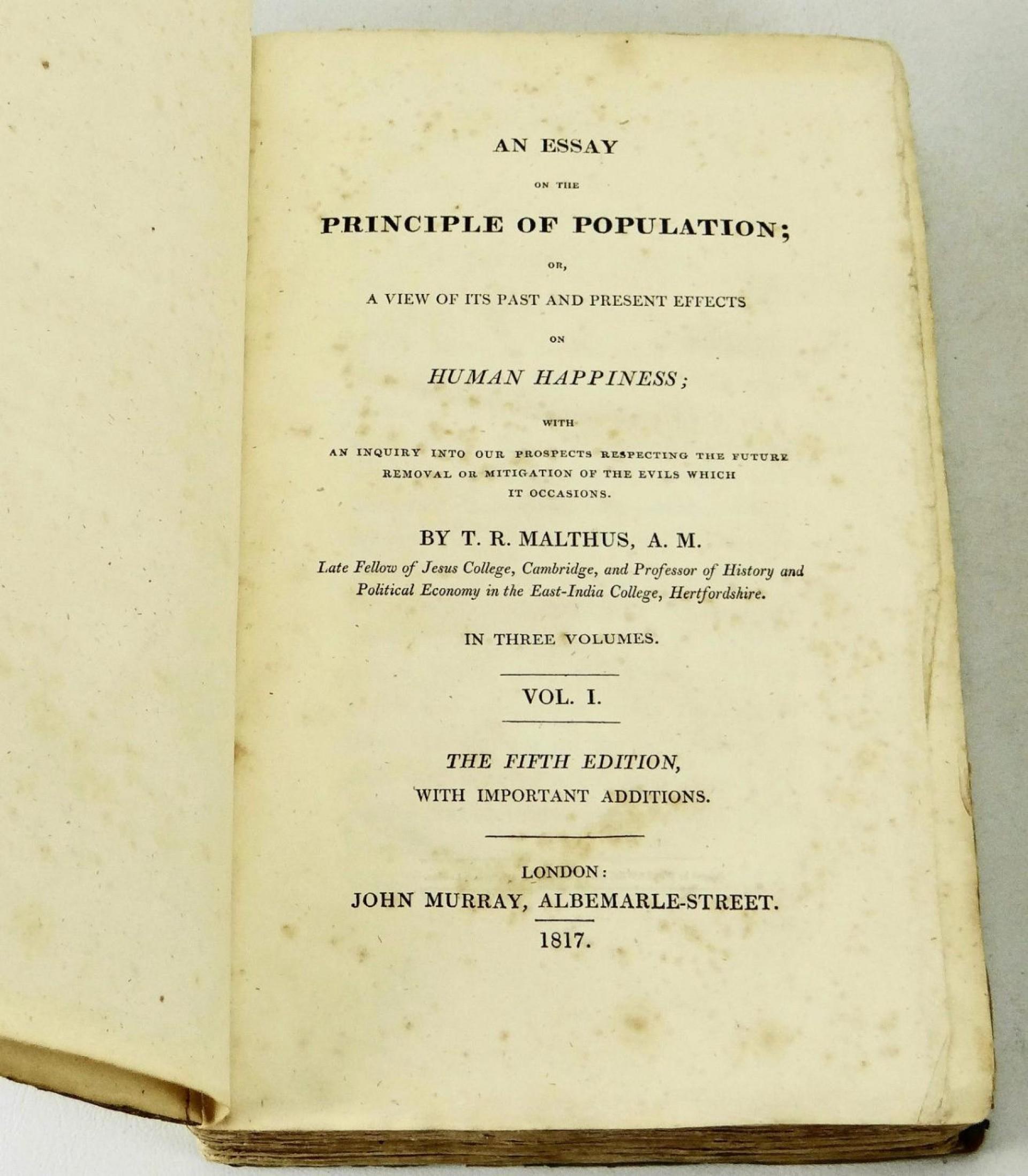 011 13726403944 5 Essay On The Principle Of Population Singular Pdf By Thomas Malthus Main Idea 1920