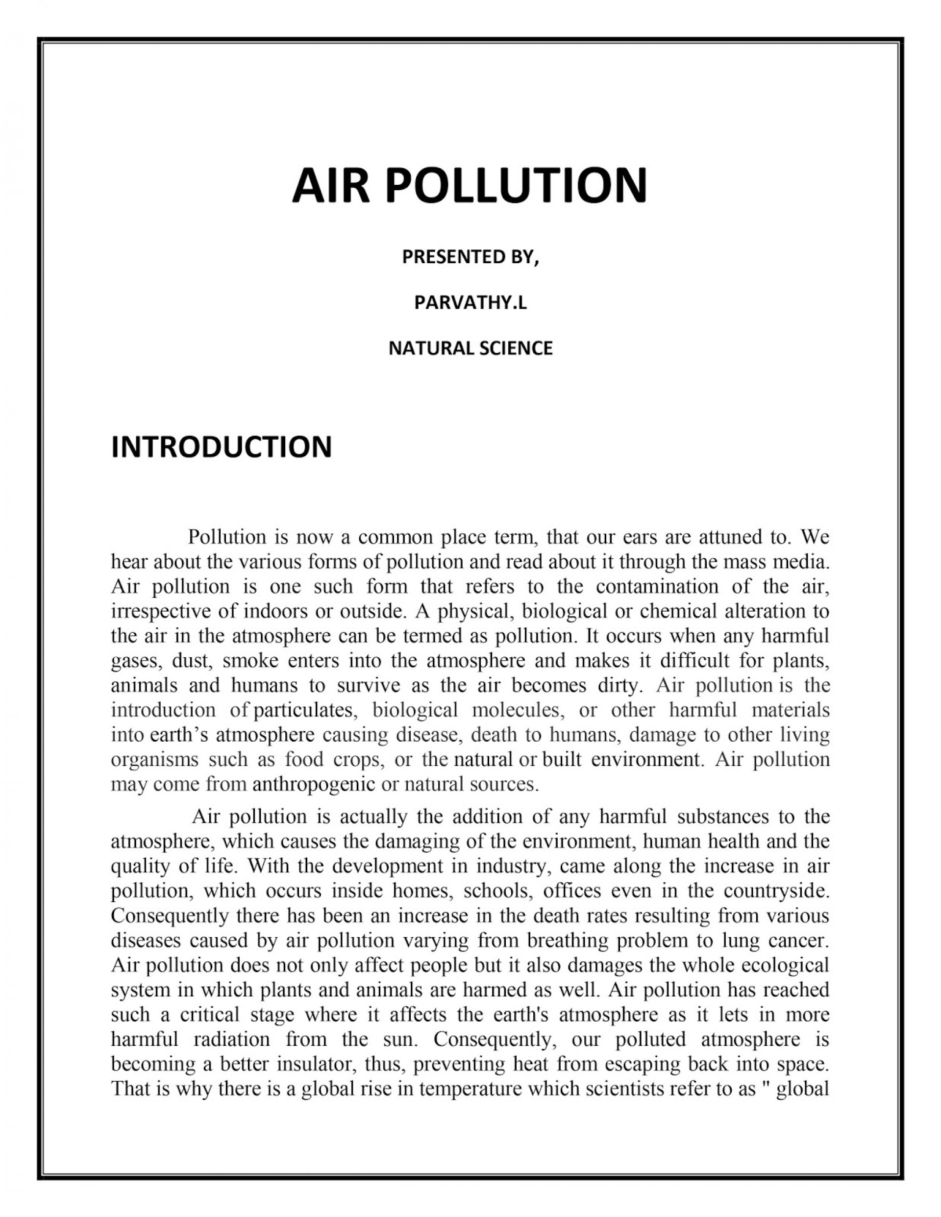 short essay on the environmental pollution in hindi english l    airpollutiononlineassignment essay writing of pollution wondrous  air in english water