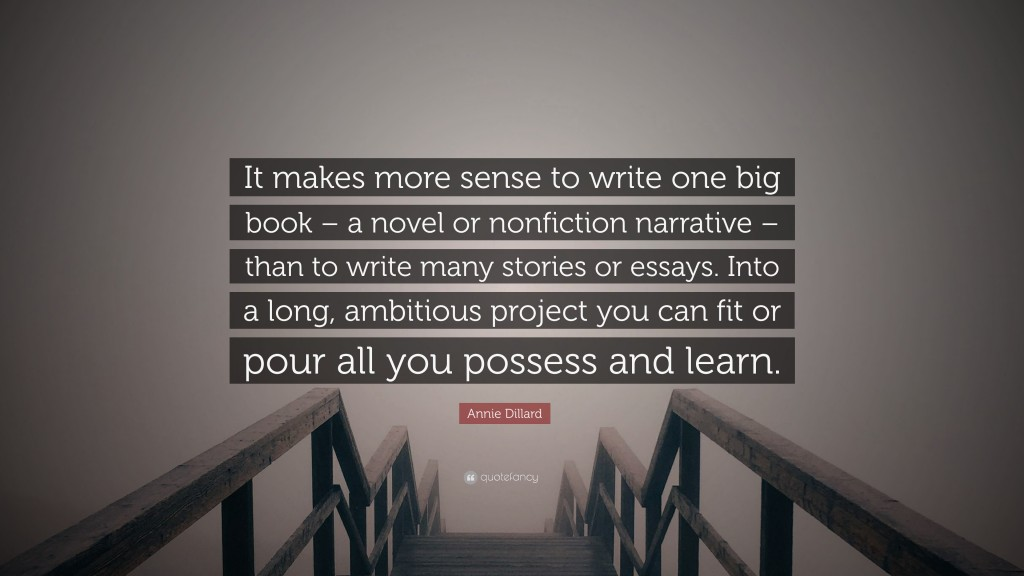 011 Annie Dillard Quote It Makes More Sense To Write One Big Book Essays Essay Stirring Stunt Pilot Pdf Large