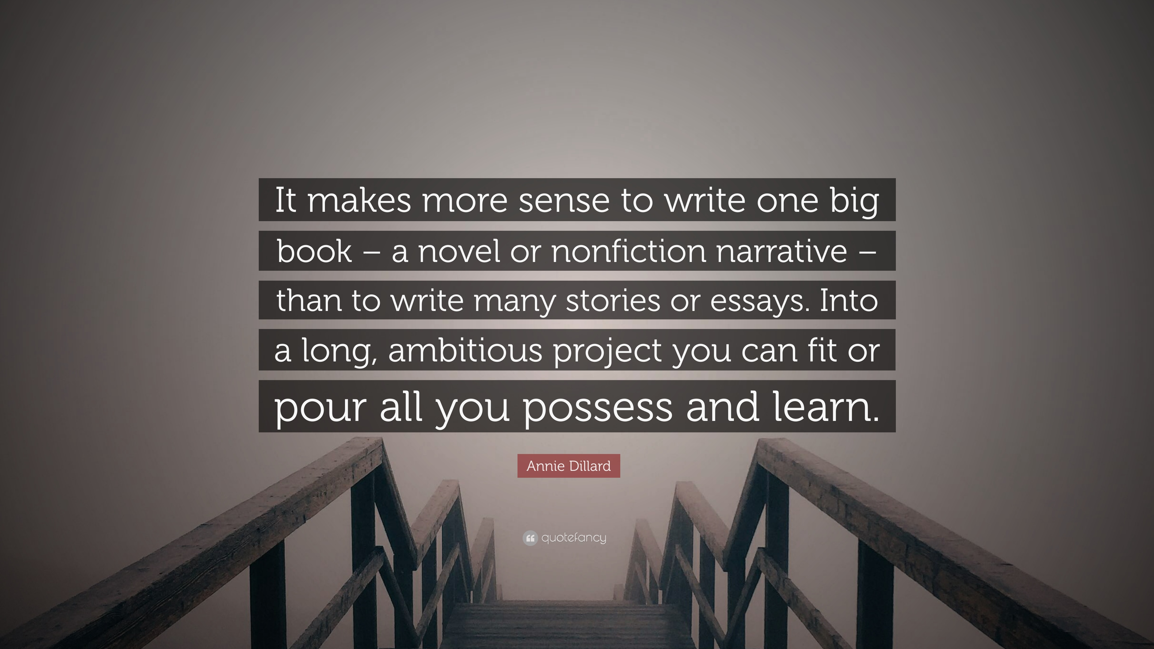 011 Annie Dillard Quote It Makes More Sense To Write One Big Book Essays Essay Stirring Stunt Pilot Pdf Full