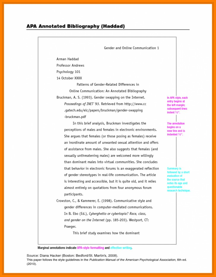 One Page Apa Format Example on
