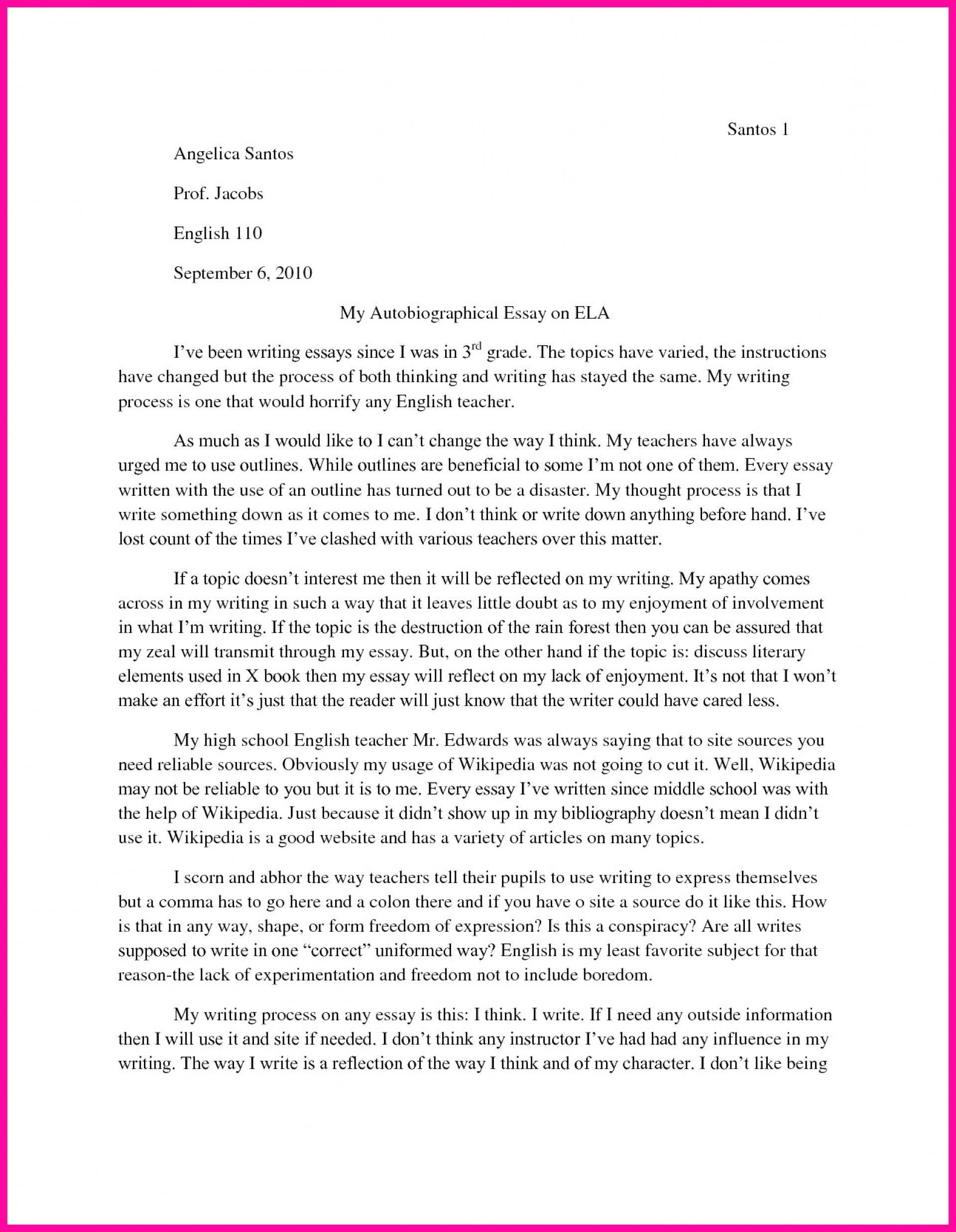 011 Autobiography Essay Example Unique Pdf Examples For College 1920