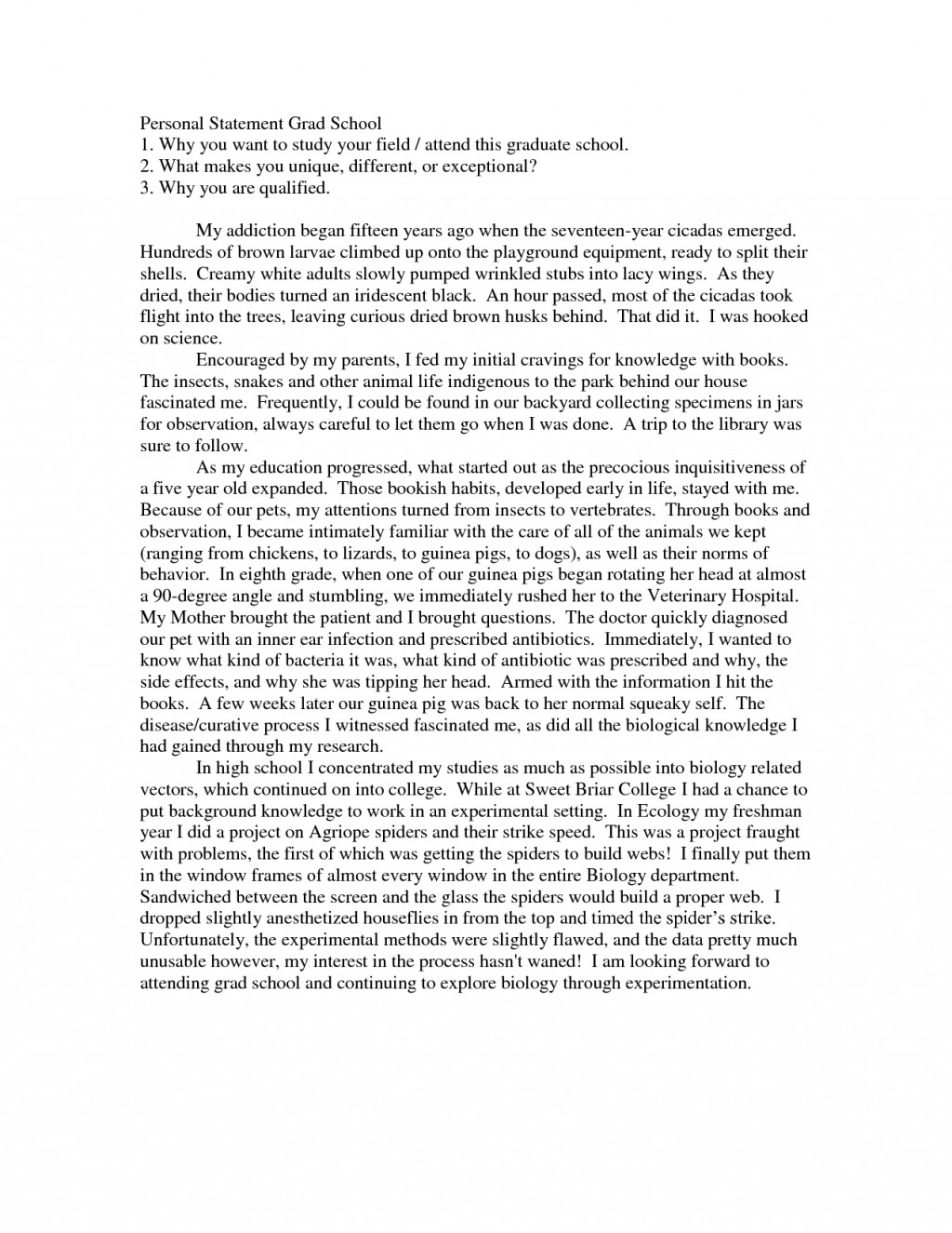 011 Best Ideas Of Sample Personal Statements Graduate School Simple Essay Collections Isaac Asimov Essays Awful On Creativity Intelligence Large