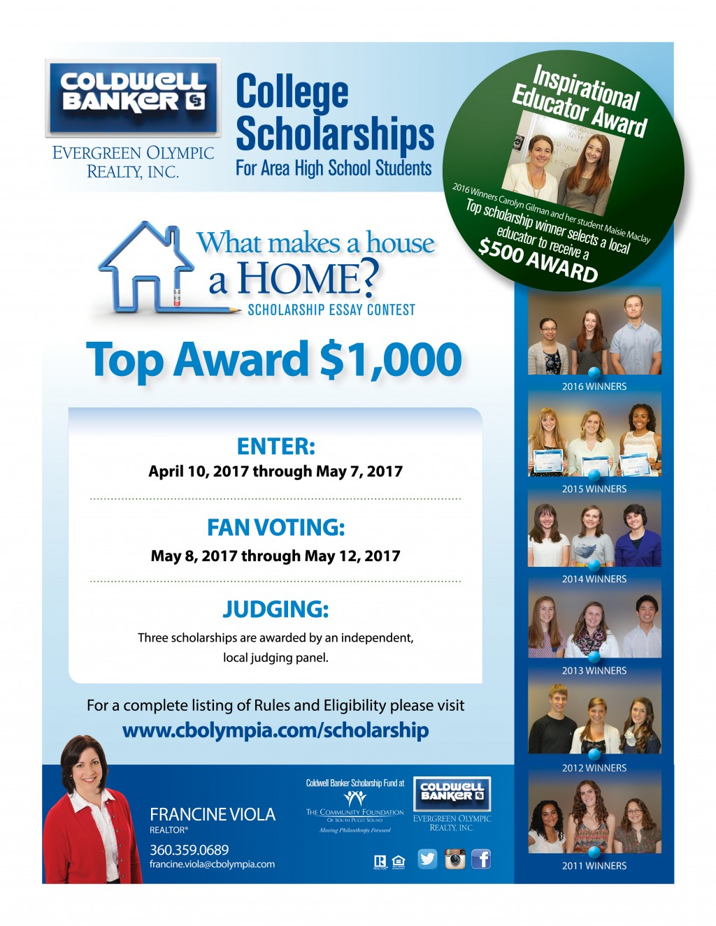 011 College Scholarship Essay Contest For Olympia Wa Students Writing Contests High School Francineviola Scholarship2017 Student Imposing 2014 Maryknoll Winners Large