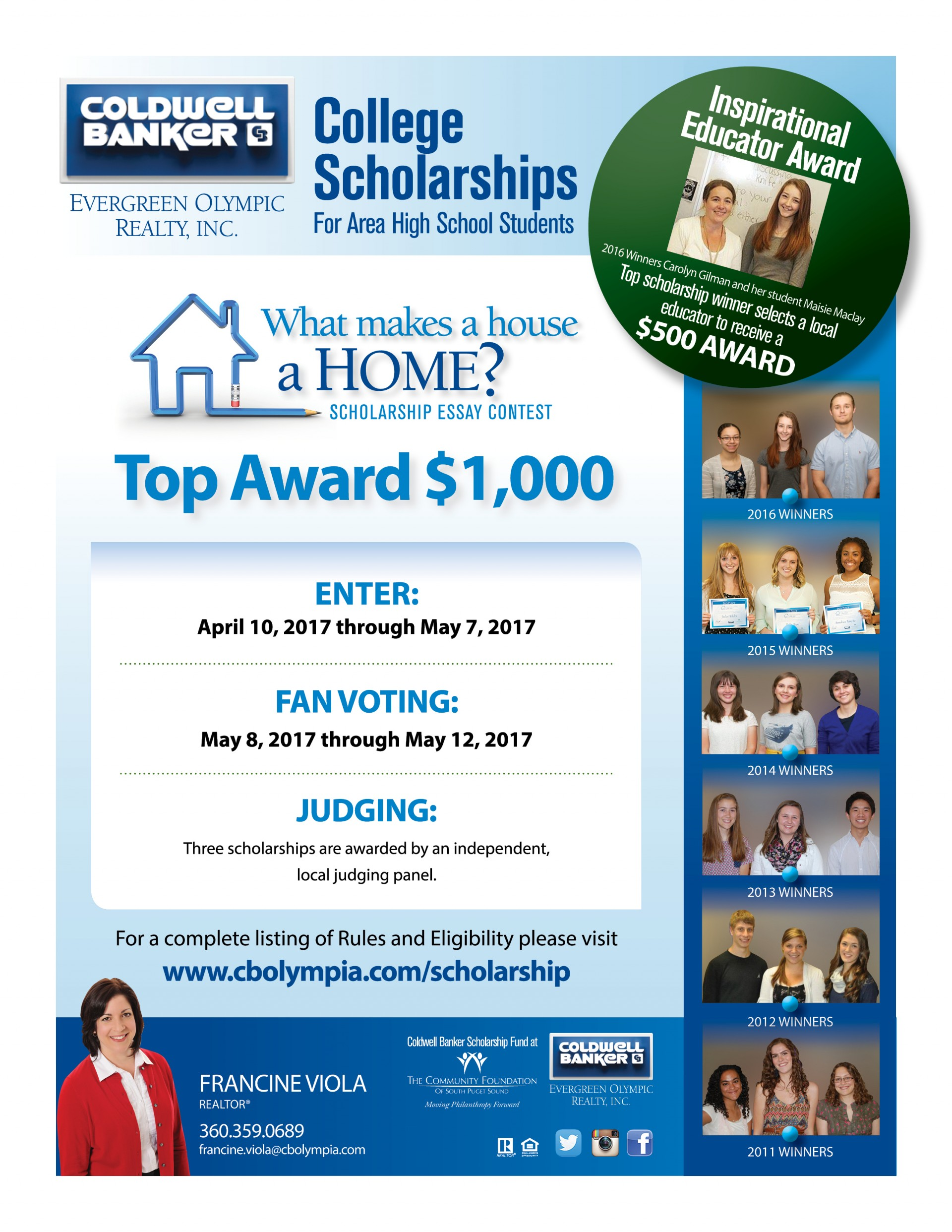 011 College Scholarship Essay Contest For Olympia Wa Students Writing Contests High School Francineviola Scholarship2017 Student Imposing 2014 Maryknoll Winners 1920