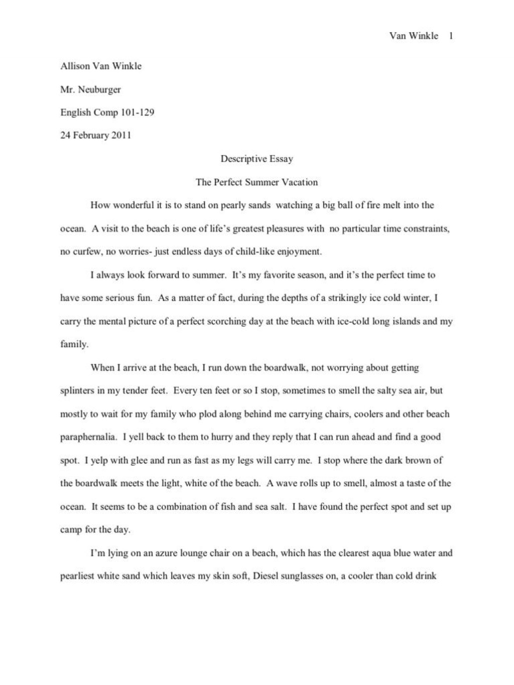 011 Descriptive Essay About The Beach Impressive At Night Writing In Summer Large