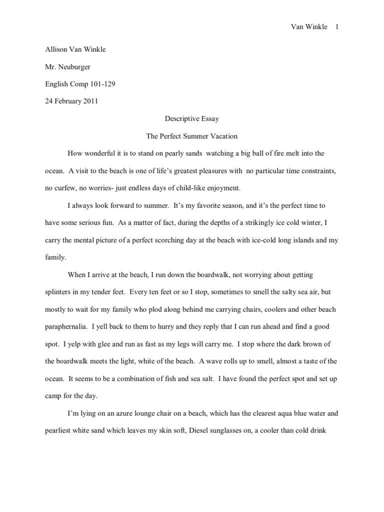 011 Descriptive Essay About The Beach Impressive At Night Writing In Summer Full