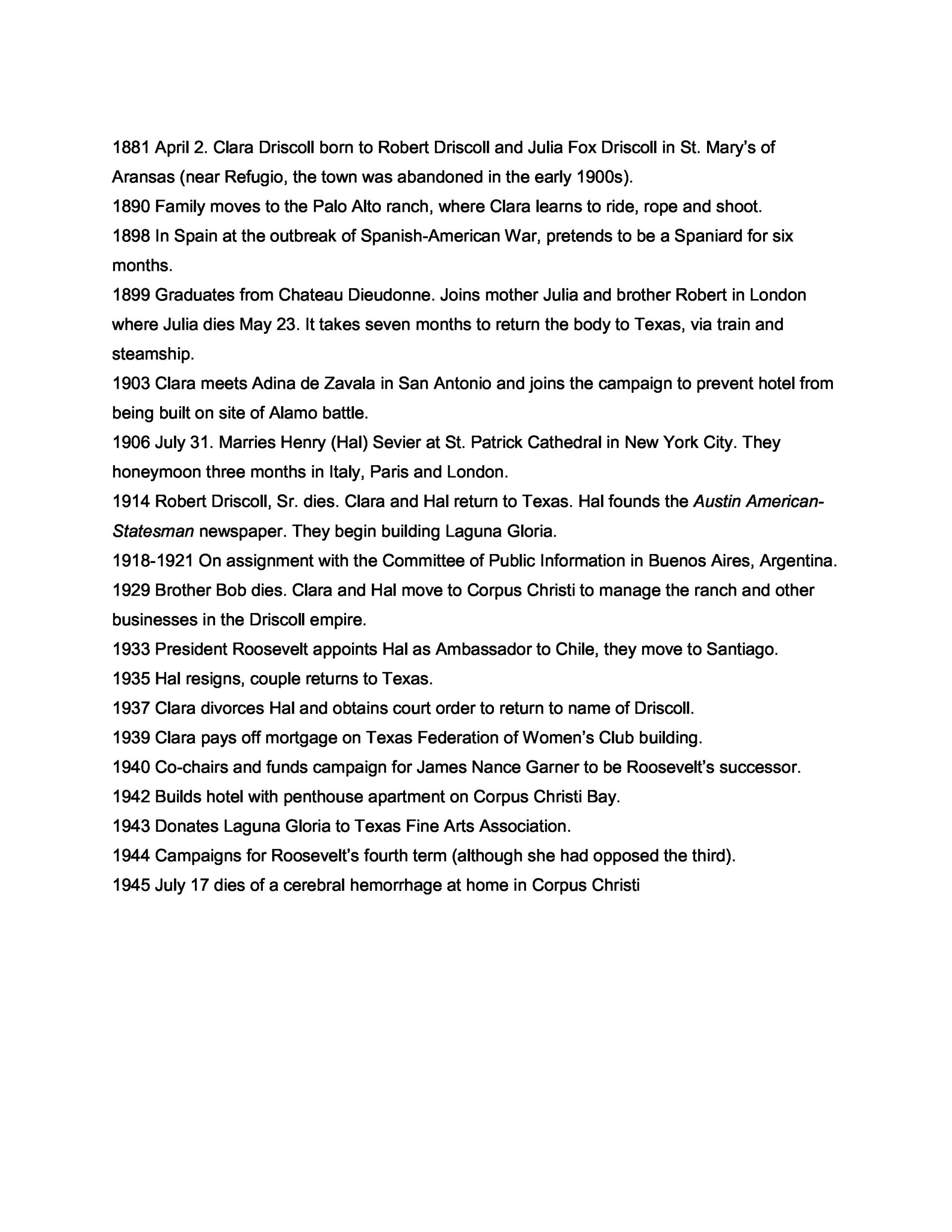 011 Driscoll Timeline Essay Example Sample Unforgettable Biography About Myself Elementary Self 1920