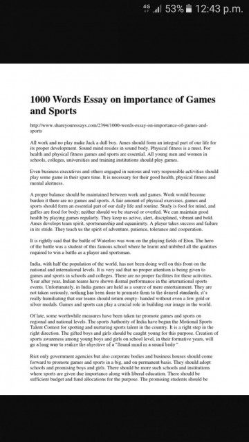 011 essay about importance of sports volume game and sport brainly