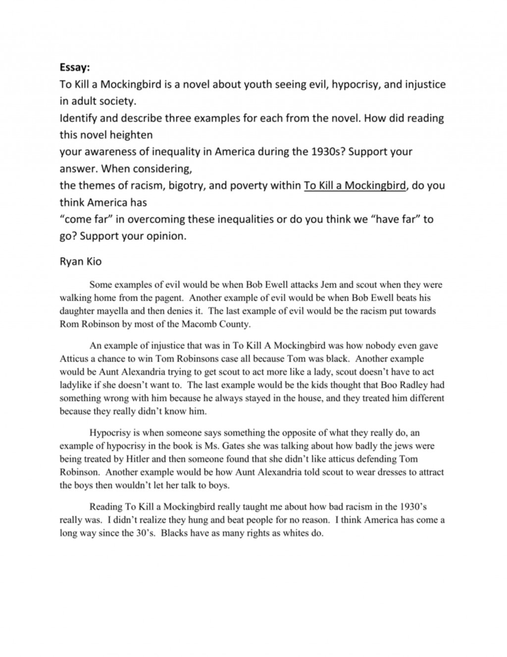 011 Essay Example 008014043 1 To Kill Mockingbird Stunning A Topics Writing Prompts By Chapter Research Paper Pdf Large
