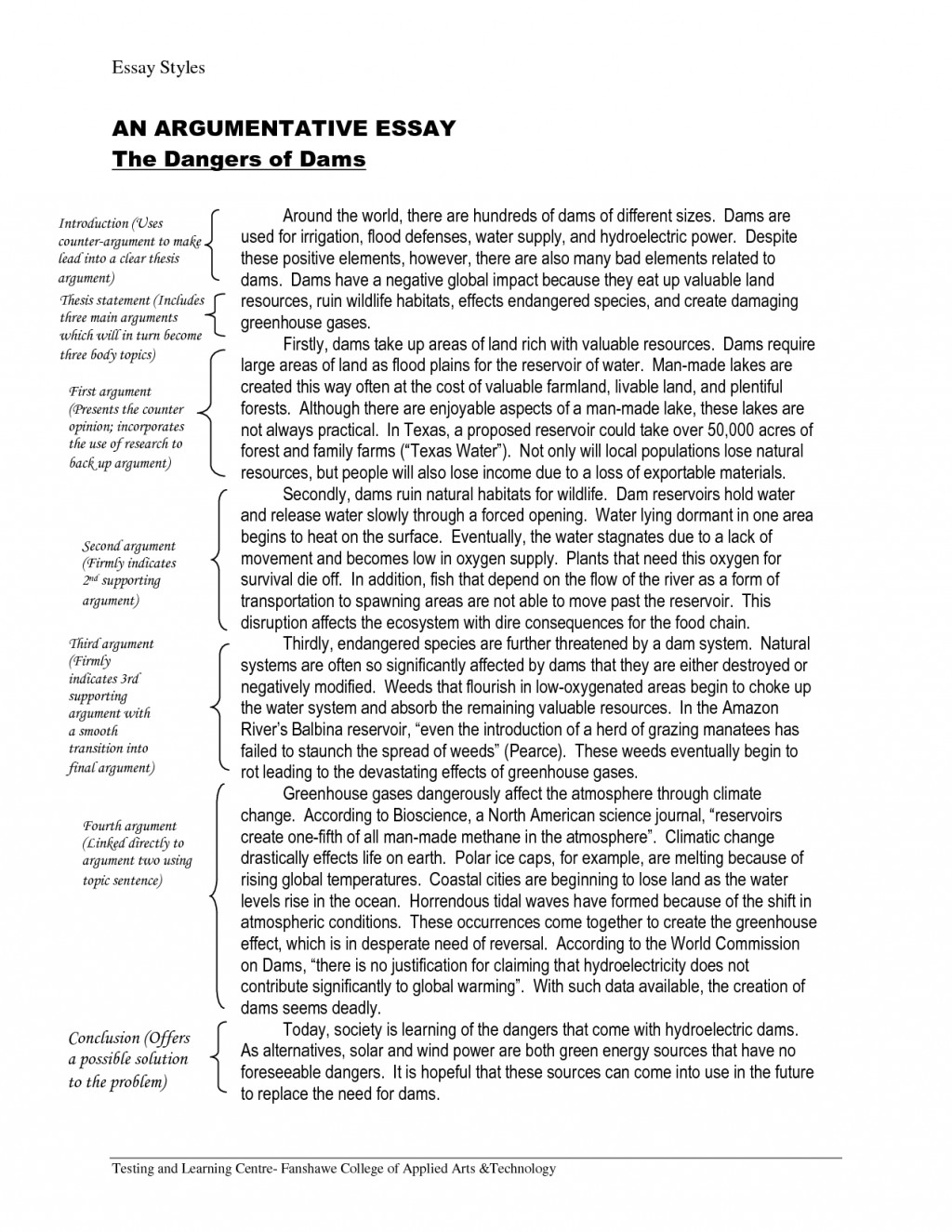 011 Essay Example Argumentative Examples College Dreaded For Students Topics Large