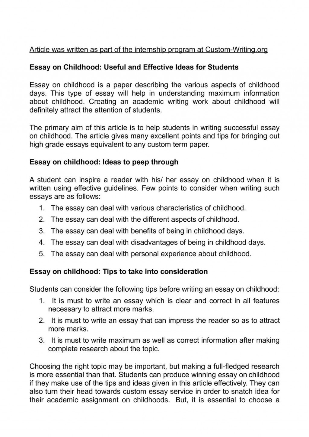 011 Essay Example Childhood Outstanding My Conclusion Pdf 150 Words Large