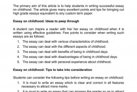 011 Essay Example Childhood Outstanding My Conclusion Pdf 150 Words