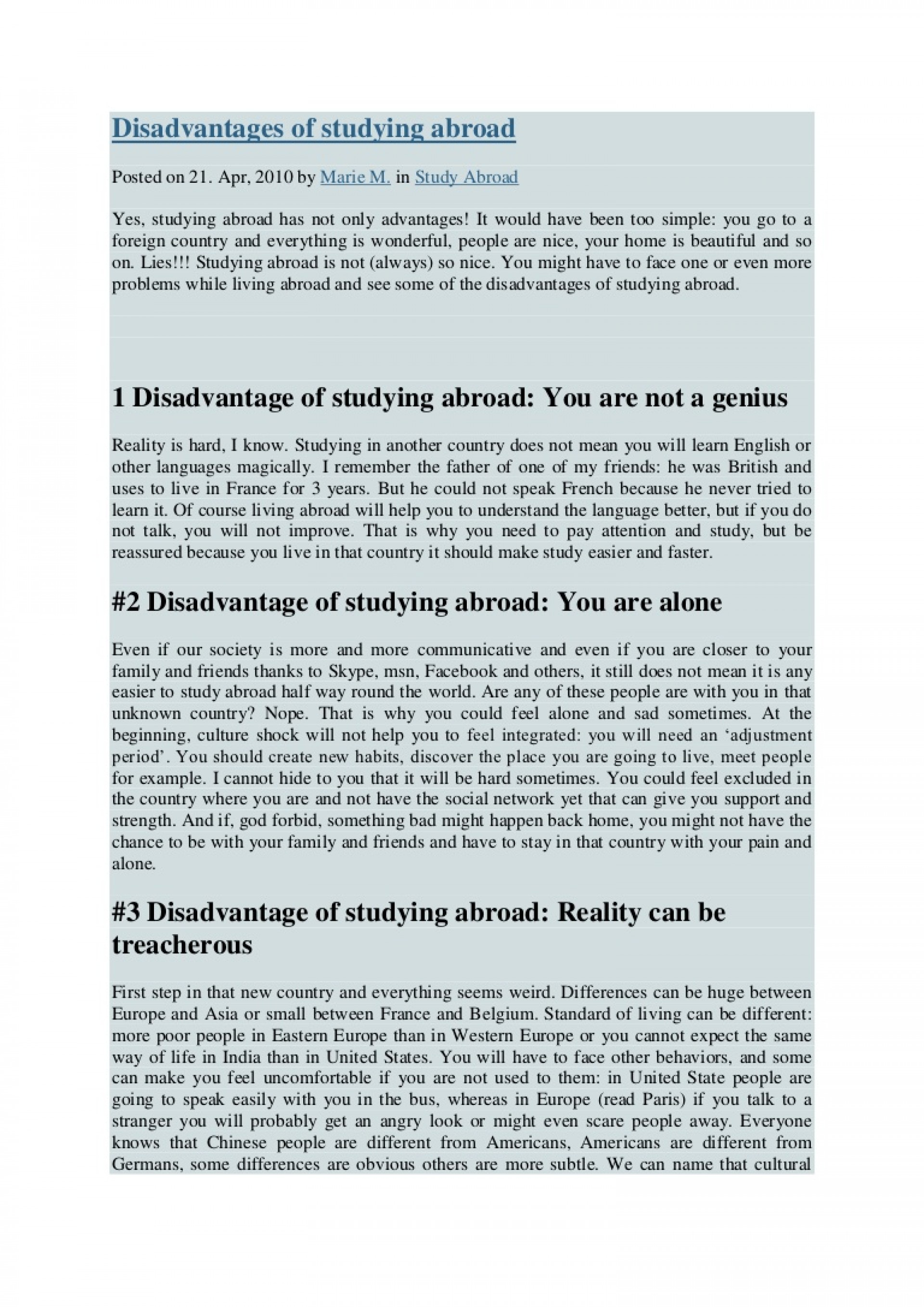 011 Essay Example Disadvantagesofstudyingabroad Phpapp02 Thumbnail Study Abroad Amazing Examples Why I Want To 1920