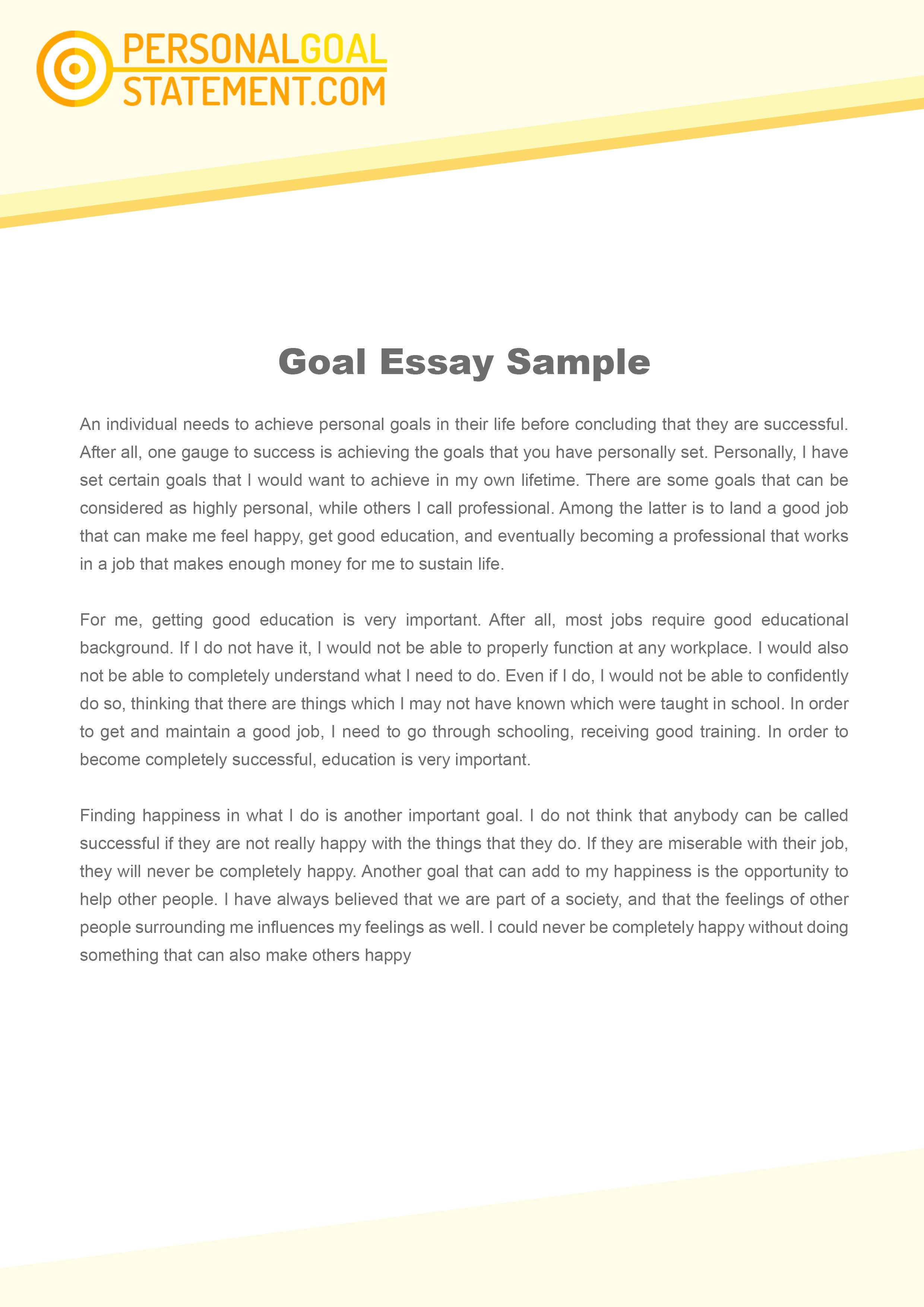 011 Essay Example Goals Career Goal Uniforms Debate Personal Examples L Awesome Sample Graduate School Future For College High Full