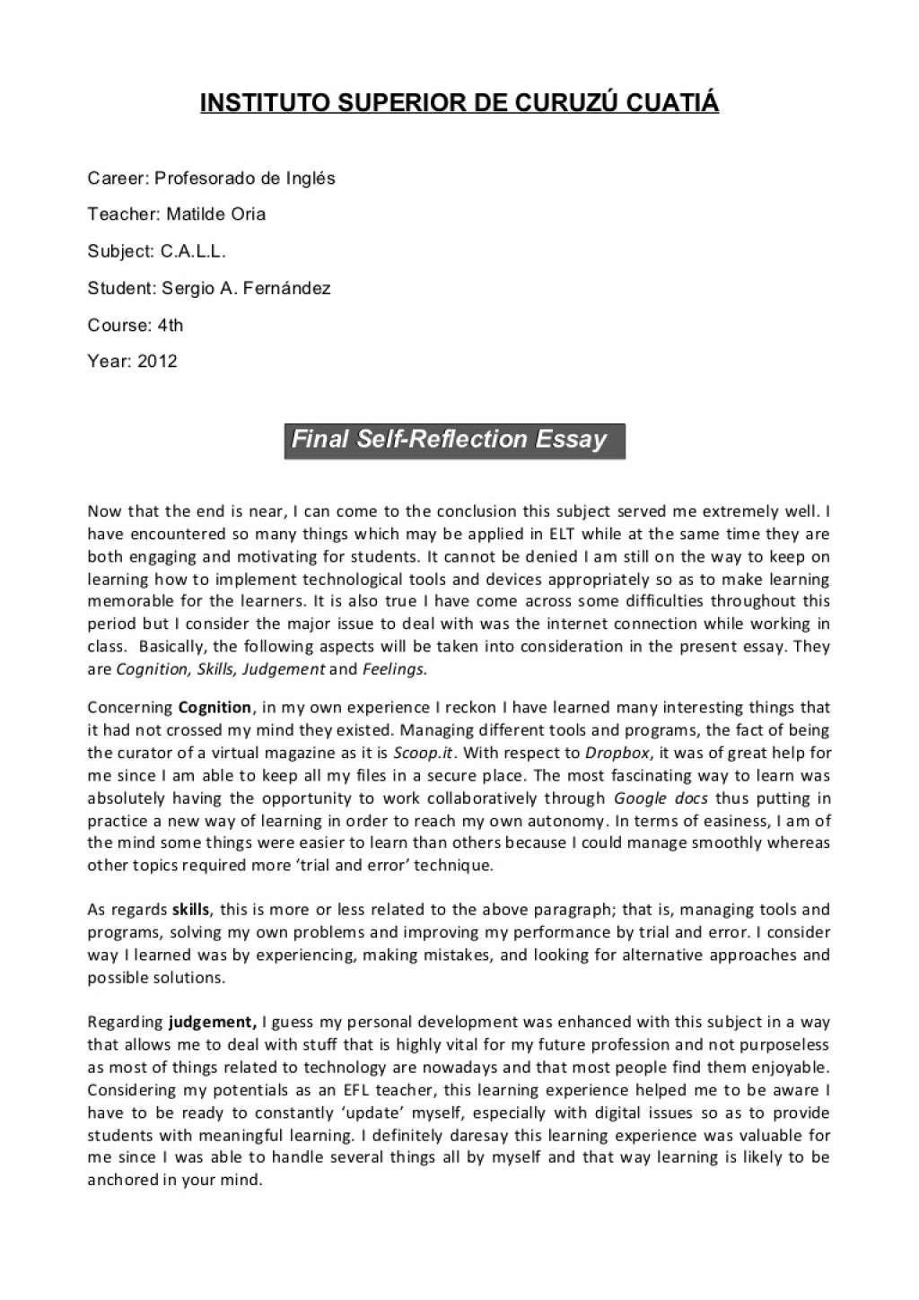 011 Essay Example How To Write Reflection Sergio Finalself Reflectionessay Phpapp01 Thumbnail Awesome A Reflective Introduction On An Article Course Large