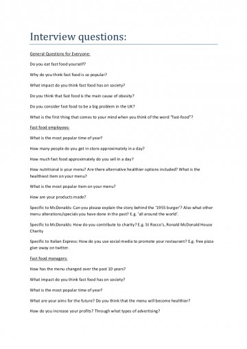 011 Essay Example Interviewquestions Phpapp02 Thumbnail Fast Stunning Food Nation Outline Titles Introduction 360
