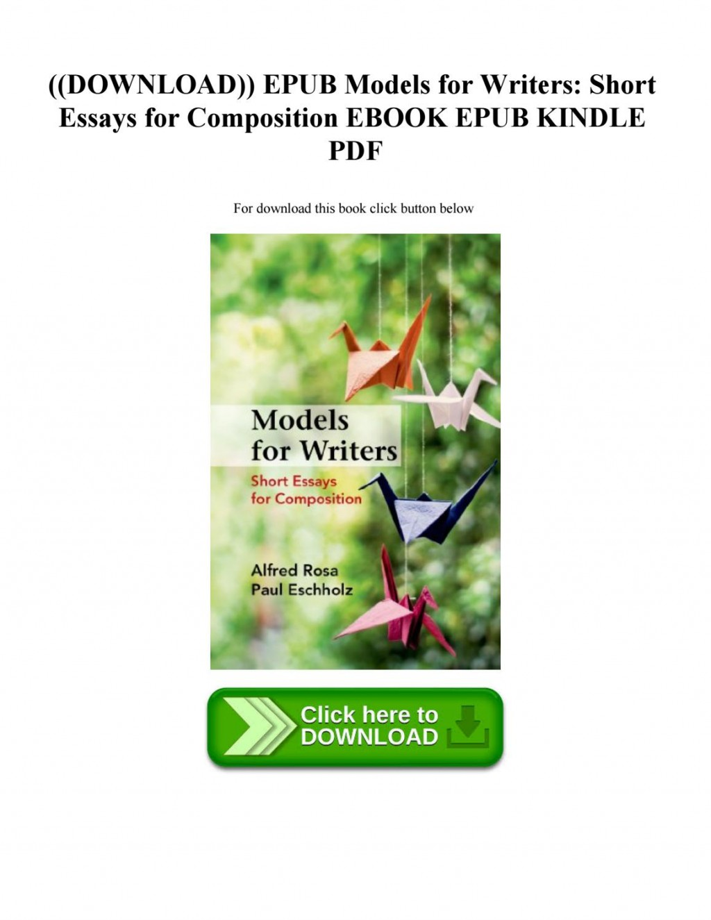 011 Essay Example Models For Writers Short Essays Composition Page 1 Singular 12th Edition 13th Pdf Large