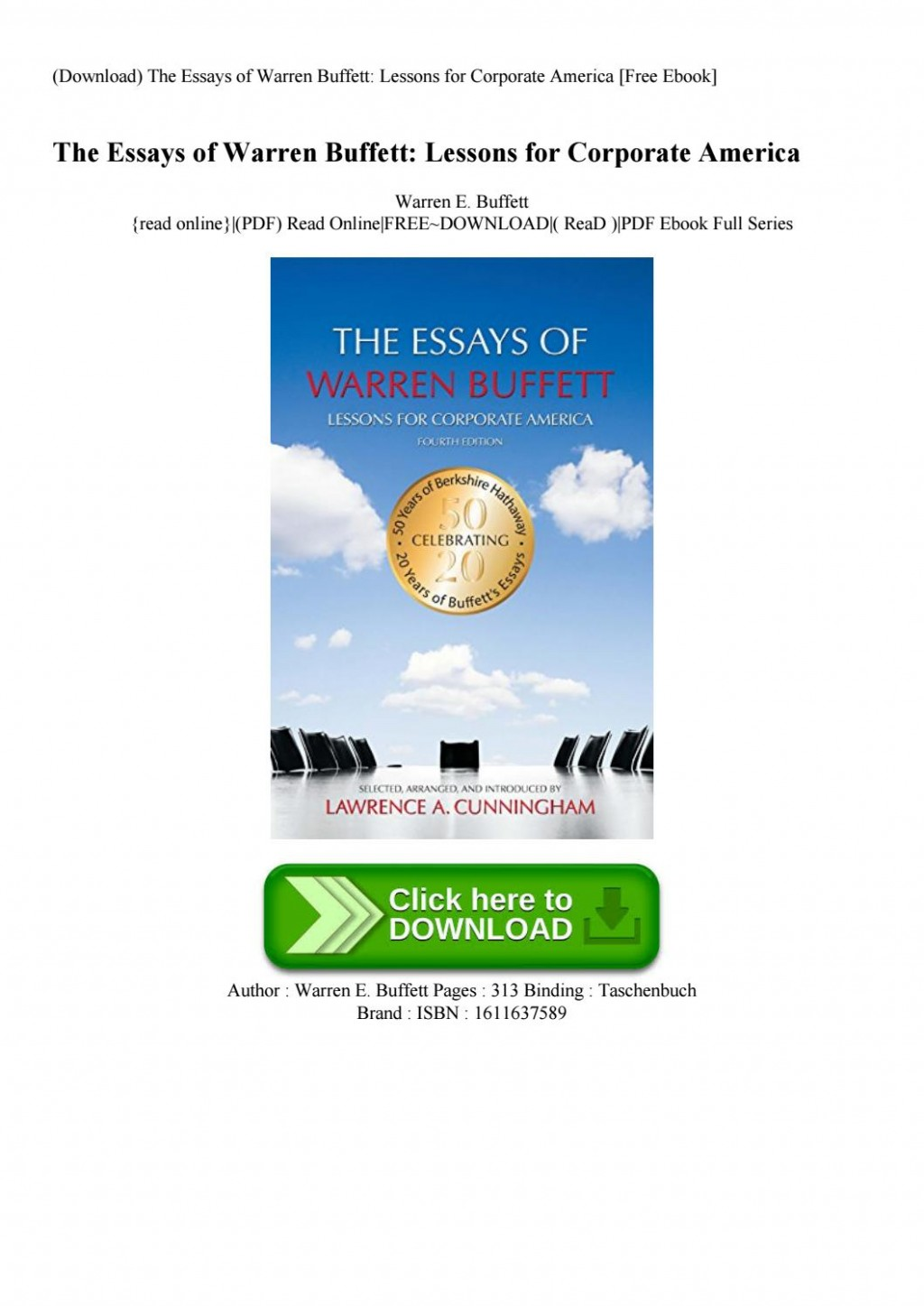 011 Essay Example Page 1 The Essays Of Warren Buffett Lessons For Corporate Remarkable America Third Edition 3rd Second Pdf Audio Book Large