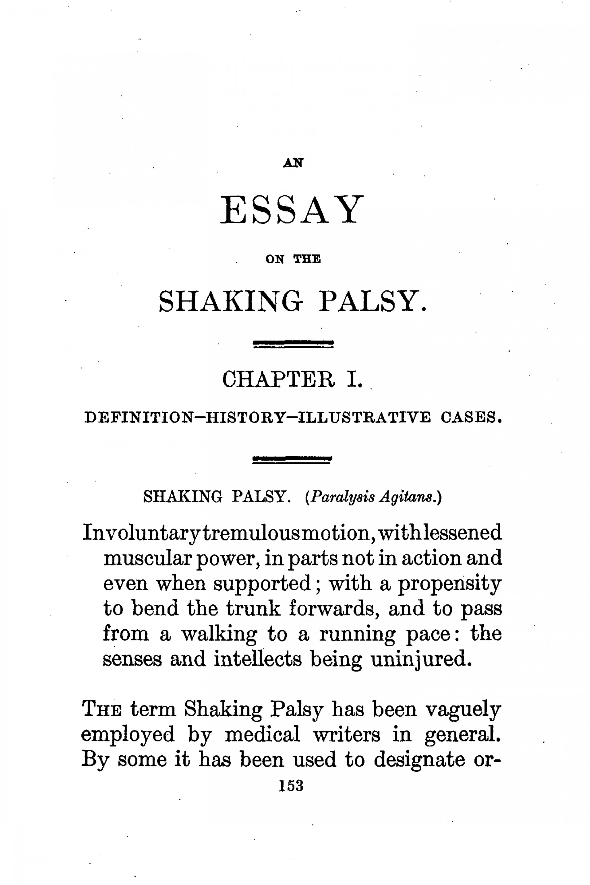 011 Essay Example Parkinson An On The Shaking Palsy First Page Hamlet Outstanding Delay Why Did Revenge 1920