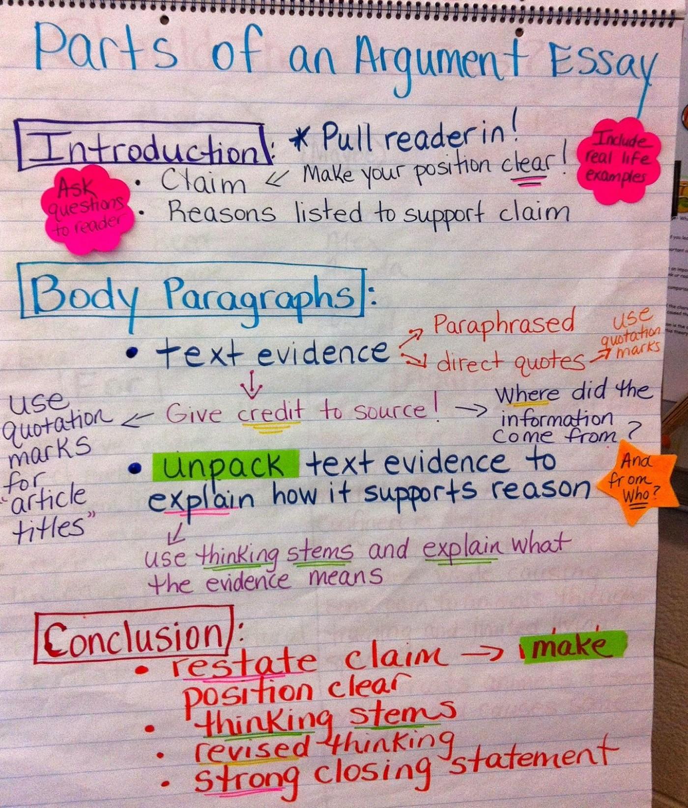 011 Essay Example Parts Of Argumentative Singular An Quiz Middle School Evidence 1400