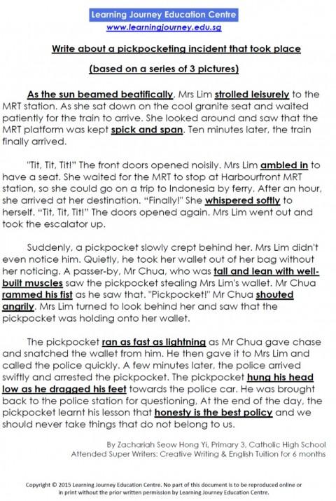 essay pickpocketing incident