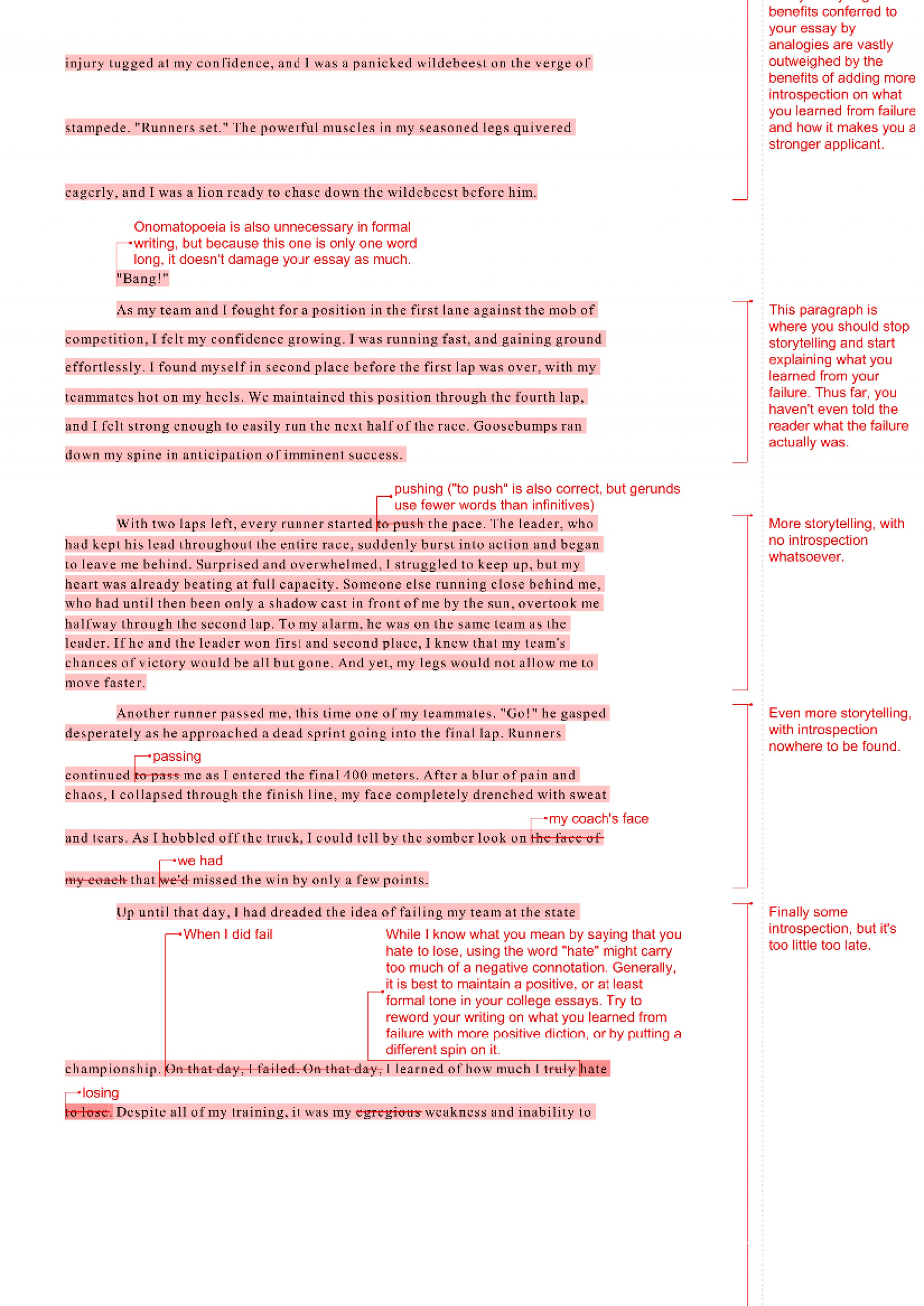 011 Essay Example Professor Revise My Quality Writing Feedback On Student Revision Examp Amazing Teaching College In French 1920