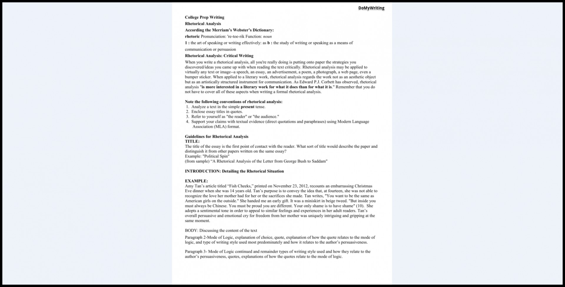 011 Essay Example Rhetorical Definition Analysis Dreaded Meaning 1920