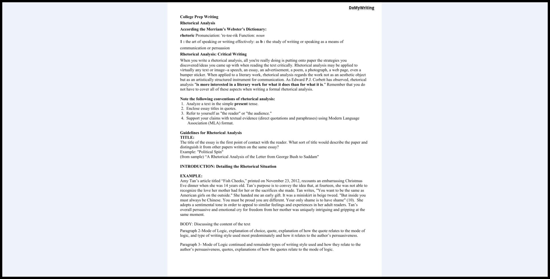 011 Essay Example Rhetorical Definition Analysis Dreaded Meaning Full