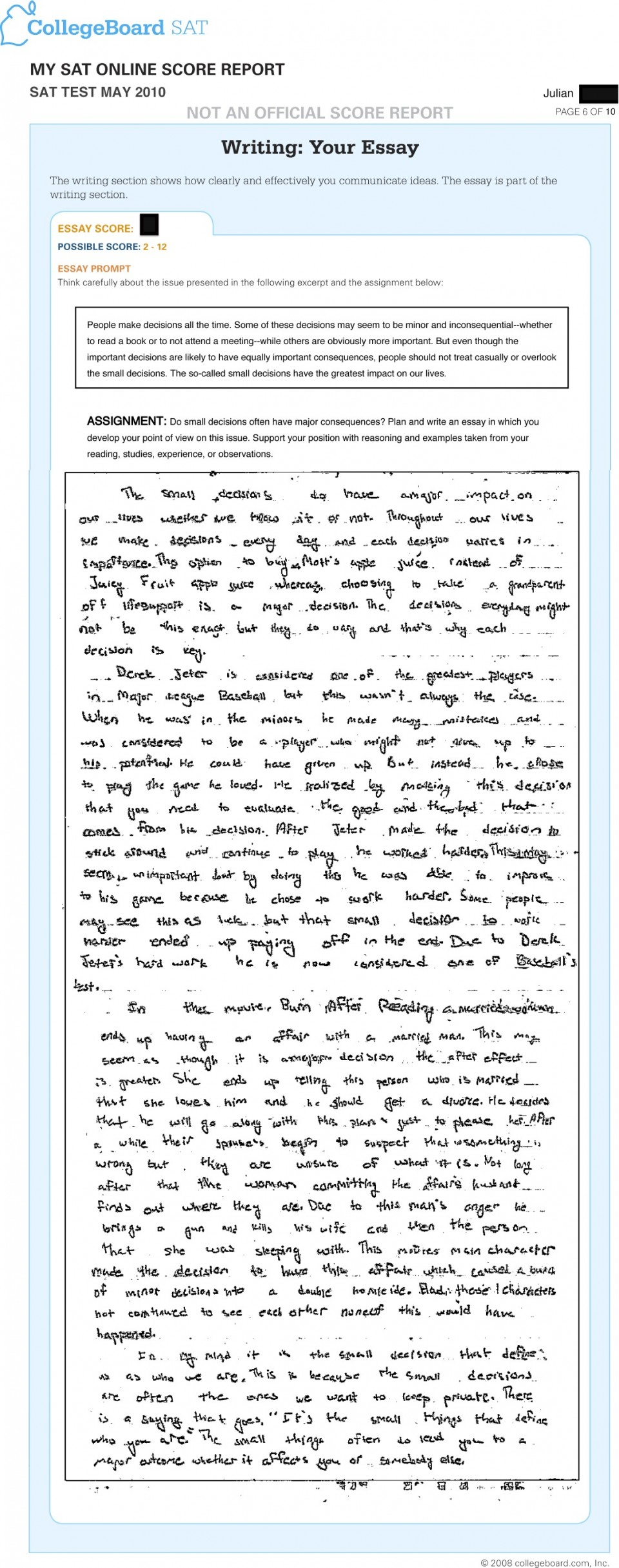 011 Essay Example Sat Prompts Jr May Surprising 2015 2017 Prompt June 960