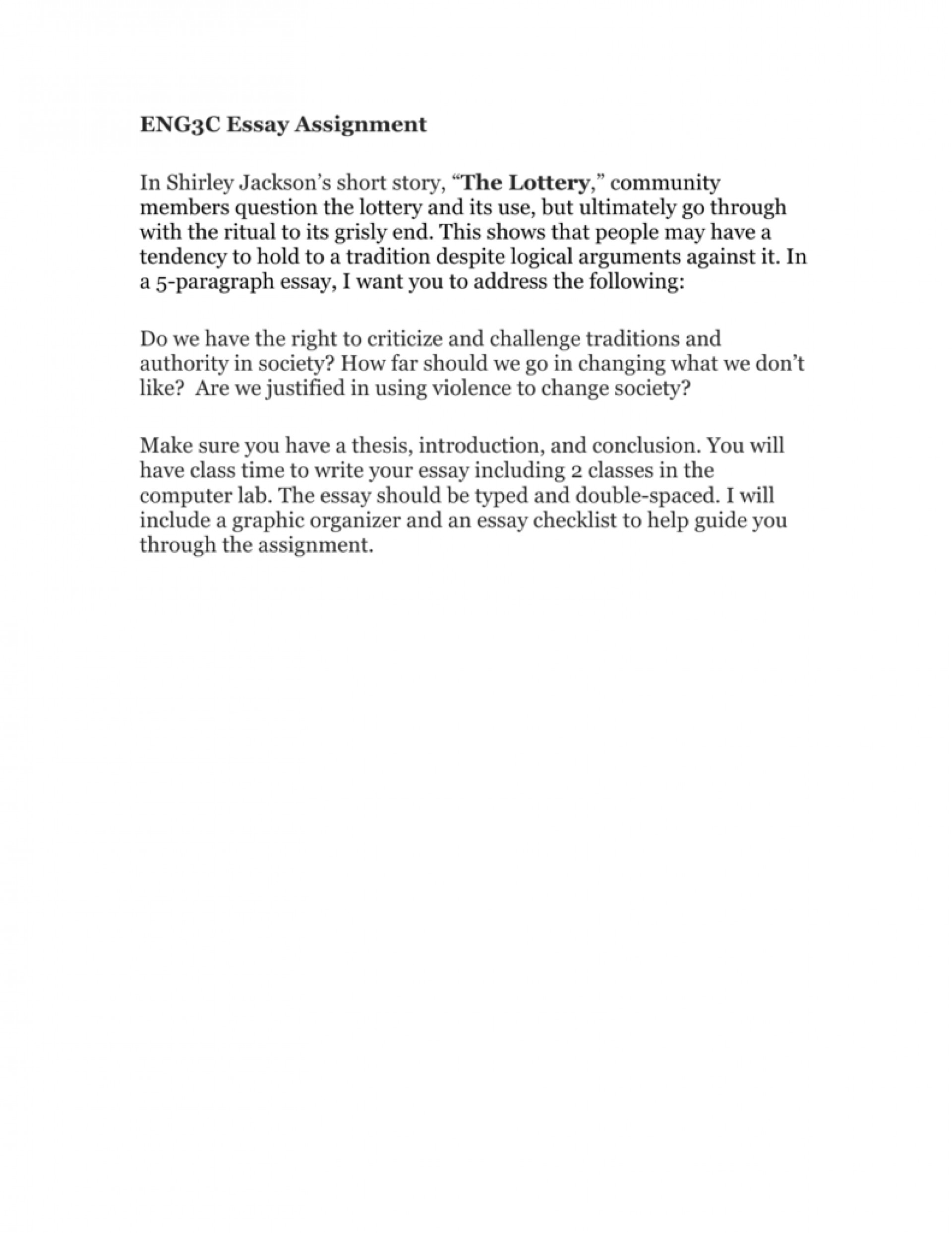 essay example shirley jackson the lottery    thatsnotus   essay example shirley jackson the lottery   surprising by  study guide questions theme tradition