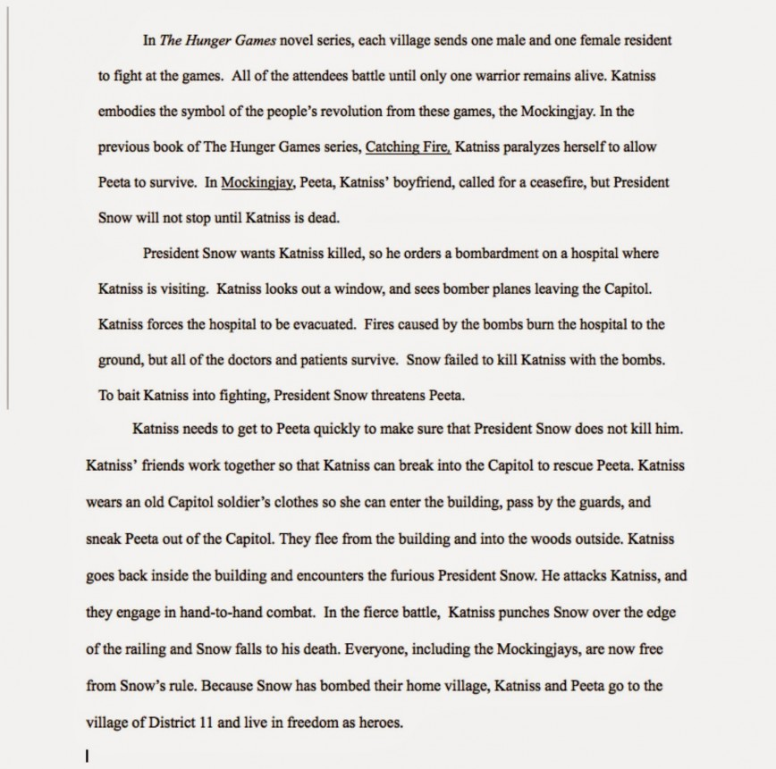 011 Essay Example The Hunger Games Book Review Imposing 868