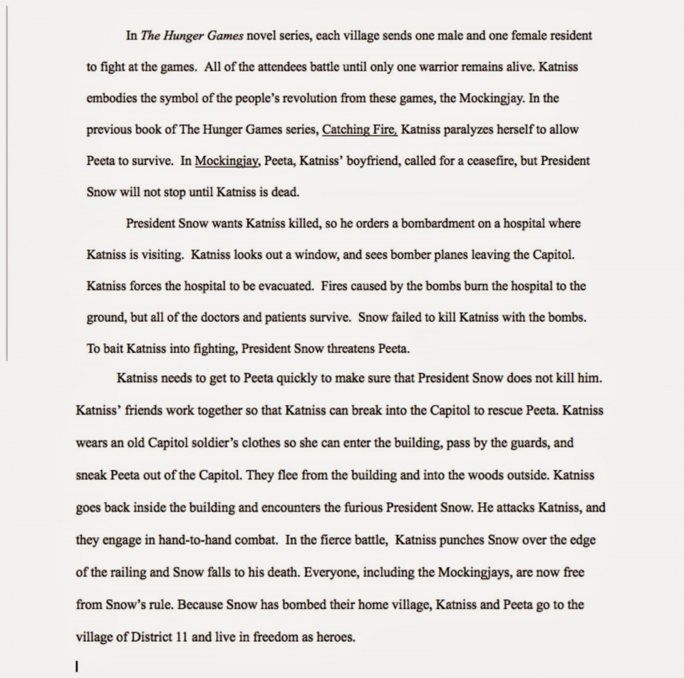 011 Essay Example The Hunger Games Book Review Imposing 960