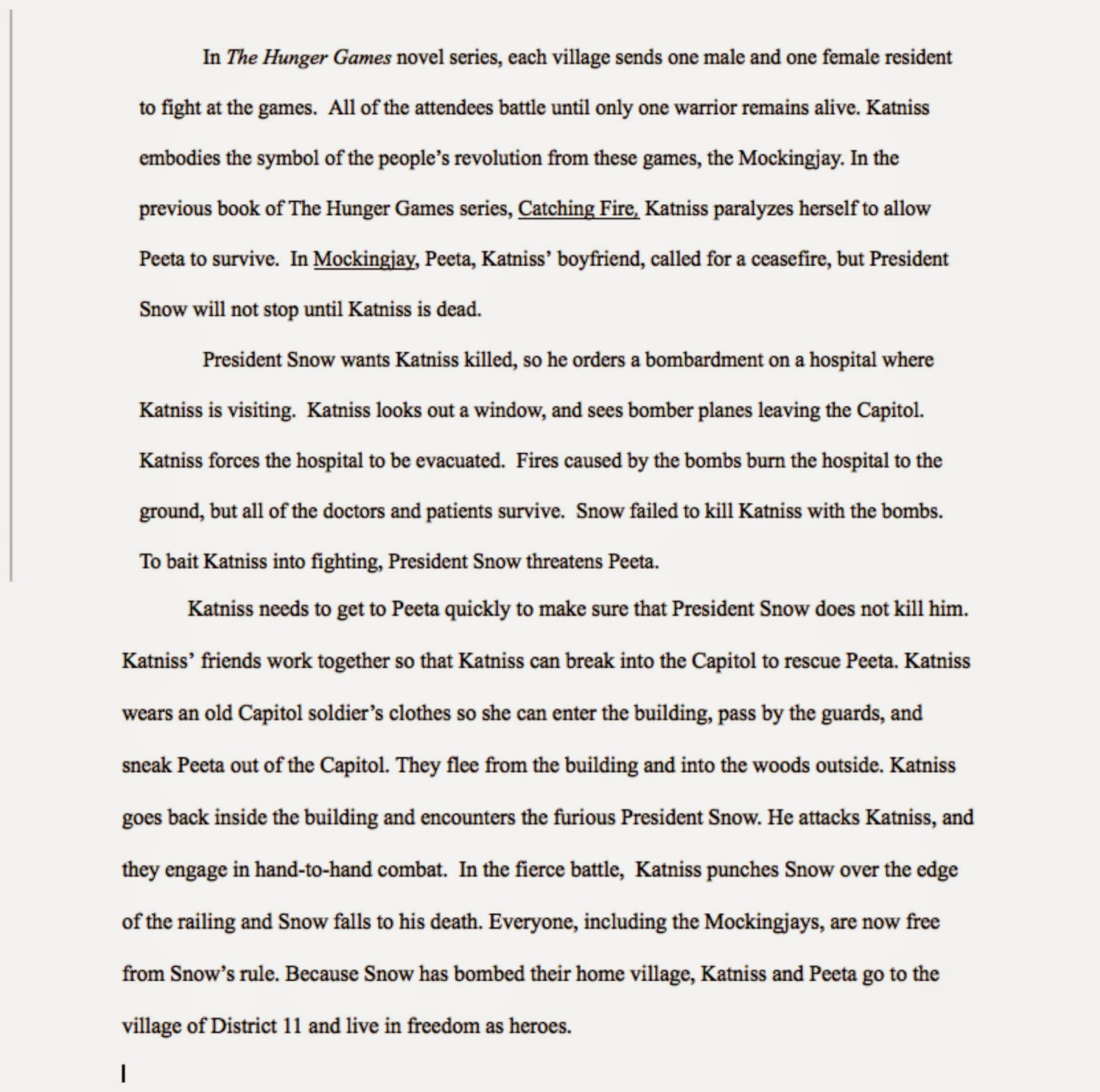 011 Essay Example The Hunger Games Book Review Imposing Full
