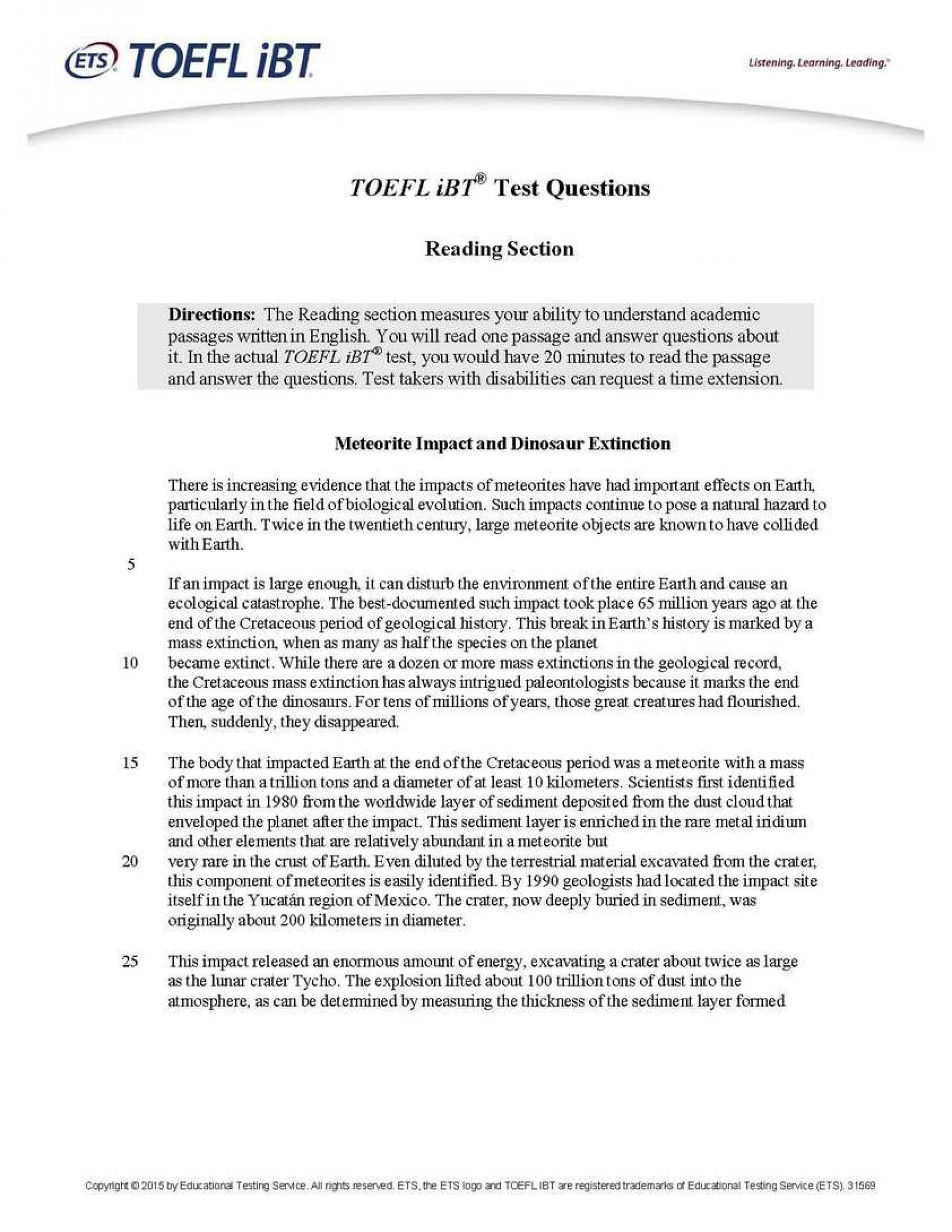 011 Essay Example Toefl Topics Sample How To Write An For Ibt Online Practice T Dreaded 2017 185 Pdf Ets 1920